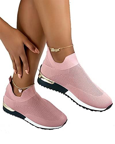 MODENCOOK Elegant Elastic Slip-on Flat Shoes,Women Fashion Shoes (Pink,9)