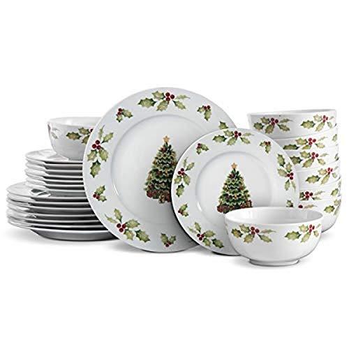 Pfaltzgraff Christmas Day Dinnerware Set, Service For 8, White