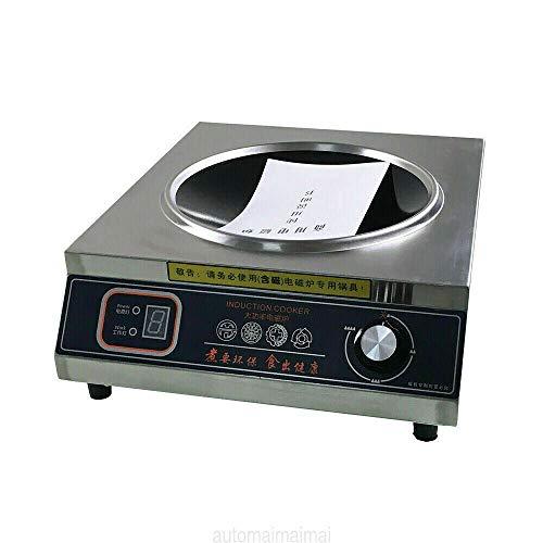 Placa de inducción de 5 velocidades, carcasa de acero inoxidable, disipación rápida del calor, 3500 W, para familias pequeños restaurantes