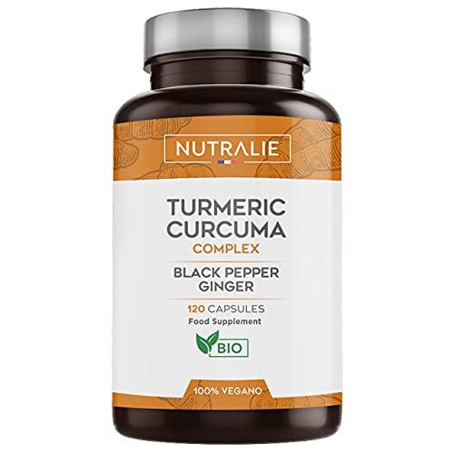 Curcuma Curcumina Bio con Piperina e Zenzero Biologico | 120 Capsule Gastroresistenti | Integratore 100% Vegano | Curcuma Complex | Prodotto da Nutralie