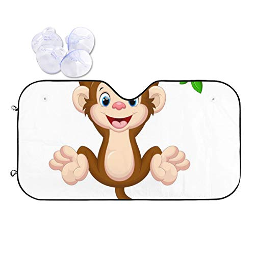 Zhung Ree Brown Cartoon Cute Baby Monkey Hanging On Tree Windshield Sun Shade Protect Your Vehicle from UV Sun and Heat Standard Size M