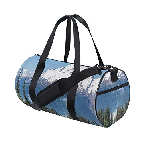 ZOMOY Bolsa de Deporte,Lago Snowy Glacier Peak en Washington, EE.UU. Bosque de pinos Altos,Nuevo de Cubo de impresión Bolsas de Ejercicios Bolsa de Viaje Equipaje Bolsa de Lona
