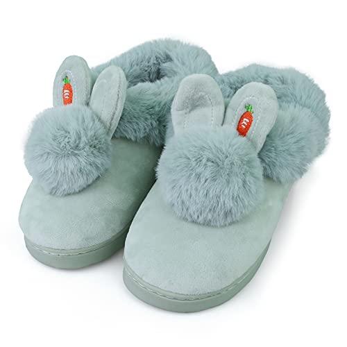 Hausschuhe Mädchen Plüsch Flauschige Warme Süßer Hase Alles Inklusive Memory Foam Slipper Leicht Rutschfeste Bequem Flache Home Pantoffeln Grün EU 34 35