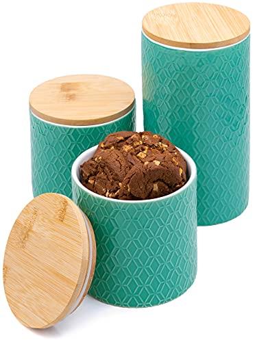 3 Botes de Ceramica de Cocina con Tapa de Bambu - Azul Turquesa - Hermeticos - Para Azucar, Galletas, Cafe, Sal, Harina