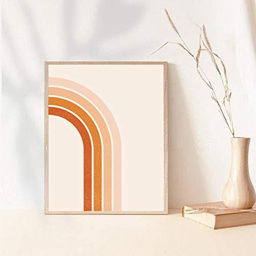Cartel abstracto del arco iris de melocotón de los años 70 Arte de la pared retro Pintura en lienzo Impresiones nórdicas Boho Cuadro de pared Dormitorio Sala de estar Decoración-50x70cmx1 Sin