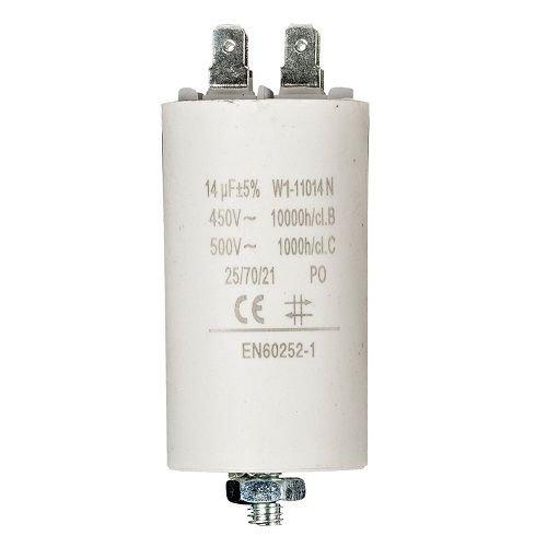 CABLEPELADO Condensador de arranque para motor electrico 14.0 uF 450 VAC Blanco