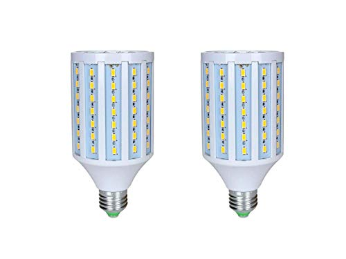 LXcom 25W E26/E27 LED Corn Light Bulbs(2 Pack)- 98 LEDs 5730 SMD 2500lm Super Bright LED Corn Bulb Daylight White 6000K, 200 Watt Equivalent for Backyard Basement Barn Workshop Outdoor