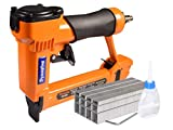 Dynastus Pneumatic Upholstery Staple Gun, 21 Gauge 1/2' Wide Crown Air Stapler Kit, by 1/4-Inch to 5/8-Inch, 1/4-Inch to 5/8-Inch, with 3000 Staples, Orang