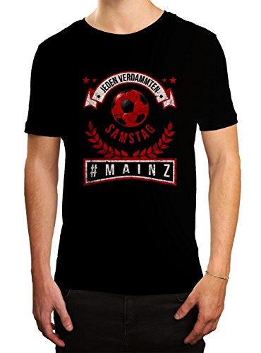 Mainz #1 Premium T-Shirt Fussball Fan-Trikot #Jeden-Verdammten-Samstag Herren Shirt, Farbe:Schwarz (Deep Black L190);Größe:L