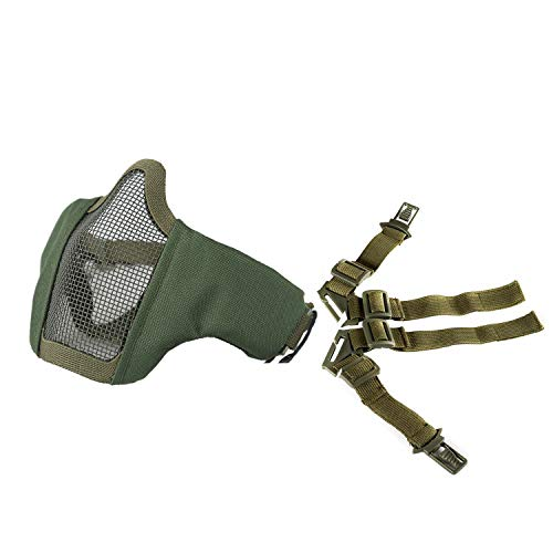 """OneTigris 6"""" Foldable Half Face Mesh Mask Military Style Comfortable Adjustable Tactical Lower Face Protective Mask (Green)"""