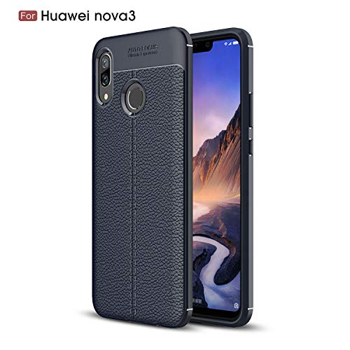 DAMONDY for Huawei Nova 3 Case, 3D Skin Painting Non Slip Armor Shock Absorption Carbon Fiber Texture Soft Full Protection Phone Case for Huawei Nova 3-Navy