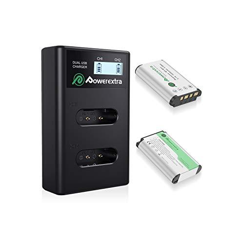 Powerextra Cargador dual LCD con 2 baterías de repuesto para Sony NP-BX1, compatible con Sony CyberShot DSC HX90 HX95 HX99 RX100 WX350 HX400V HDR AS100V FDR X1000 X3000 etc.