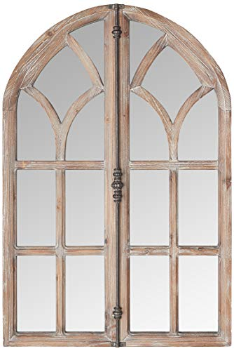 "Amazon Brand – Stone & Beam Vintage Farmhouse Wooden Arched Multipanel Mantel Mirror, 36""H, Dark Stain"