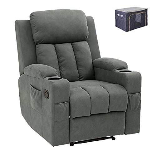 Baby Plum Gray Recliner Chair for Seniors Sleeping Recliners with Push Button Comfortable Reclining Chairs for Living Room Modern Recliner Chairs for Bedroom