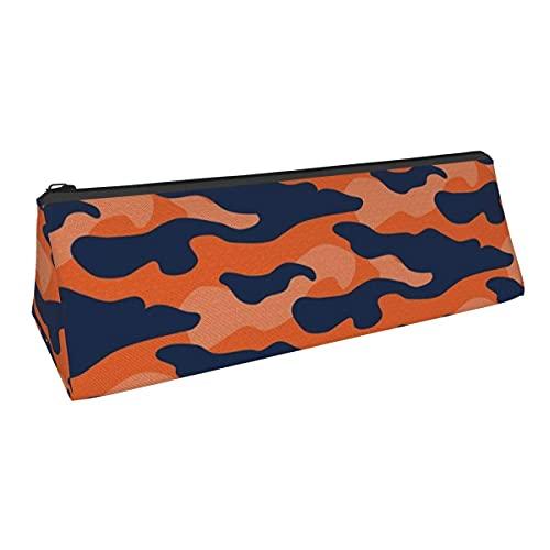 Bolsa de almacenamiento para bolígrafos de camuflaje azul marino y naranja de pequeña capacidad, para niños, niñas, universidad, escuela, oficina, alicates de papelería