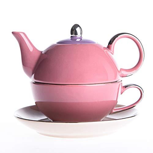Artvigor, Kaffeeservice aus Porzellan, 3 TLG. Teekanne mit Tasse und Untertasse, Geschenkverpackung