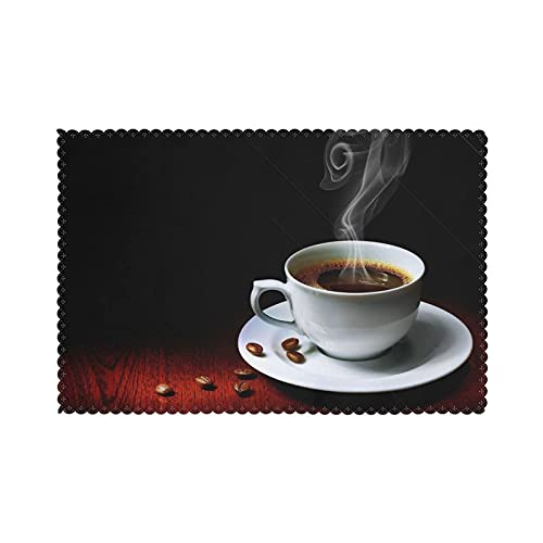 WANGJINGHUA Placemats Hot Coffee with Coffee Bean Print Set of 4 Washable Heat Resistant Dining Table Place Mats for Dining Table 30X45CM