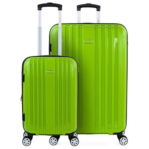 ITACA - Juego de Maletas de Viaje Rígidas 2 Pzs. Set Trolley 4 Ruedas (Cabina + Grande) Resistentes y Robustas. Conjunto Equipaje Avión. 760217, Color Pistacho