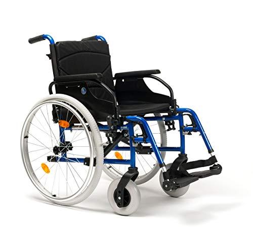 FabaCare Rollstuhl D200-V, Leichtgewicht Faltrollstuhl, vieles Einstellbar, faltbar, Premium Transportrollstuhl, Sitzbreite 50 cm