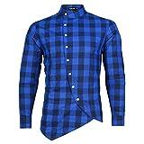 Camisa a Cuadros con Cuello levantado para Hombre, Camisa Informal de Manga Larga con Costuras de diseño Irregular y Delgado a la Moda S