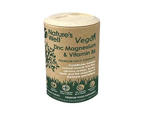 Vegan Zinc, Magnesium & Vitamin B6 Supplement for Adults & Children, 100 Tablets. Contributes Towards Normal Skin, Bones, Muscle Function, Metabolism, Vegetarian and Halal & Kosher
