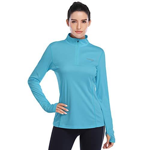 HISKYWIN Womens UPF 50+ Sun Protection Tops Long Sleeve Half-Zip Thumb Hole Outdoor Performance Workout Shirt HF806 Lake Blue L
