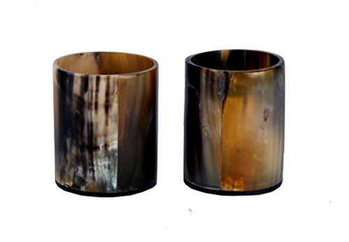 Buddha4all Handgefertigtes Echthorn Wikinger Bar Shots Glas 2er Set aus natürlichem Horn Material...