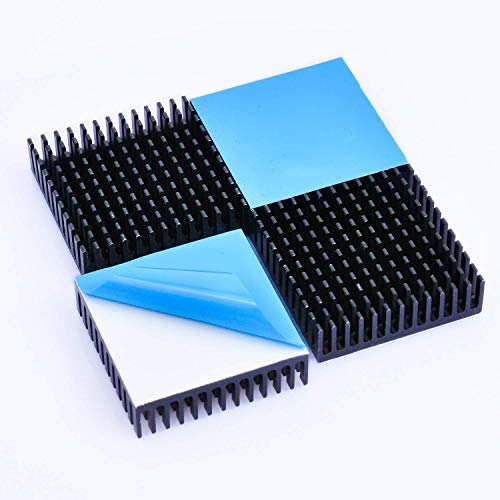 Easycargo 40mm Heatsink Kit 40x40x11mm + 3M 8810 Thermal Conductive Adhesive Tape, Cooler Heat Sink for Cooling 3D Printer, TEC1-12706 Thermoelectric Peltier 40mmx40mmx11mm (Black, 4)