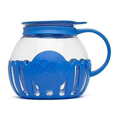 Ecolution Original Microwave Micro-Pop Popcorn Popper Borosilicate Glass, 3-in-1 Silicone Lid, Dishwasher Safe, BPA Free, 3 Quart Family Size, Blue