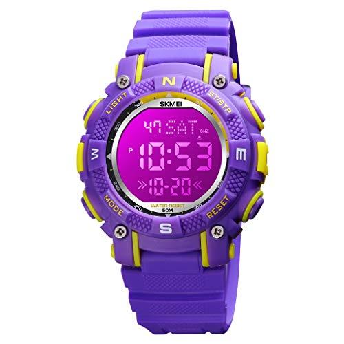 Reloj digital para niños con 7 luces LED luminosas, cronómetro, multifunción, para niños y niñas