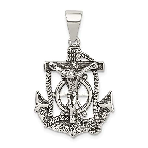 925 Sterling Silver Mini Nautical Anchor Ship Wheel Mariners Inri Crucifix Cross Religious Pendant Charm Necklace Mariner Fine Jewelry For Women Gifts For Her