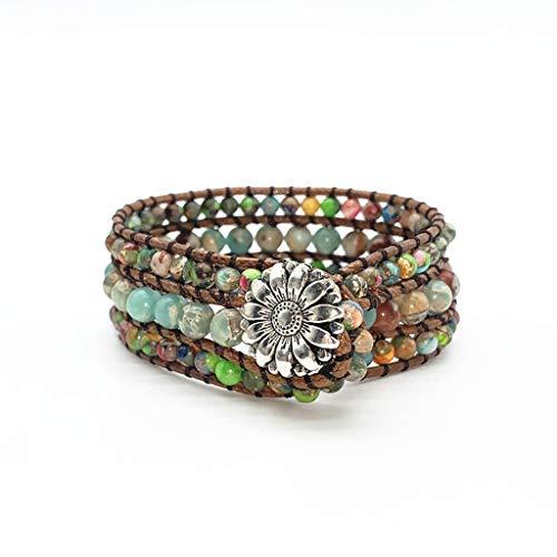 ciriQQ - Pulsera de cuero con 3 envolturas, hecha a mano, con piedra natural, pulsera de inspiración, regalo para mujer, cumpleaños, hombres, mamá, amiga, caja de regalo