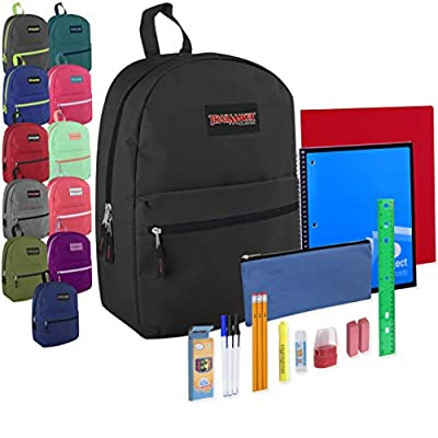 24 Pack Bulk Backpacks with School Supplies for Kids - Trailmaker Wholesale Backpack and School Supplies Kits (Assorted Colors Pack) from