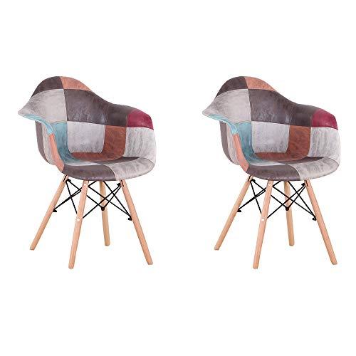 Sillas de Comedor Juego de 2 sillones Modernos de Mediados de Siglo Silla Lateral tapizada de Retazos con reposabrazos,Ideal para Sala de Estar,Comedor,cafetería (Grey)