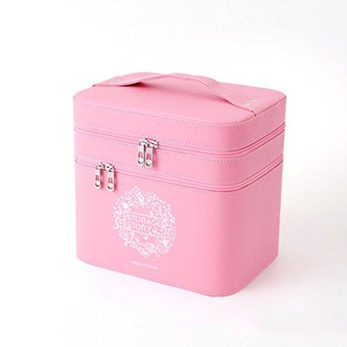 Coffrets de maquillage Sac Cosmétique De Haute Capacité Simple Étui Cosmétique Portable Grande Boîte De Rangement 23.5 * 15 * 22.5 Cm (9.2 * 5.9 * 8.8 Pouces) (Color : Rose)