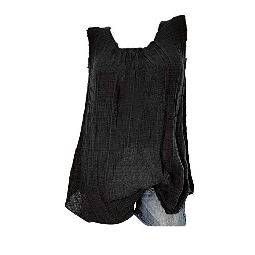 Oksea Leinen Damen Damen Baumwoll Leinen Tunika T-Shirt Oberseiten Leinenkleid Damen Sommer mit Spitze am Rücken ärmellos (Schwarz, XXXL)
