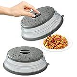 Olymajy 2 Pcs Tapa Plegable para Microondas Tapa microondas Plegable Microondas sin BPA para Proteger los Alimentos, Cesta de Filtro de Frutas y Verduras con Orificio de Vapor