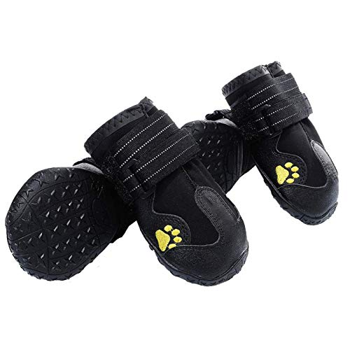PG.KINWANG Dog Boots Waterproof Dog Shoes for Medium to Large Dogs with Reflective Velcro Rugged...