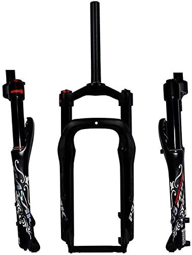 WYJW Horquilla de suspensión de Bicicleta BMX, aleación de magnesio de 20 Pulgadas, Viaje, Freno de Disco de 100 mm, Horquilla de Aire para Bicicletas de 1-1/8'para neumáticos de Grasa 4.0