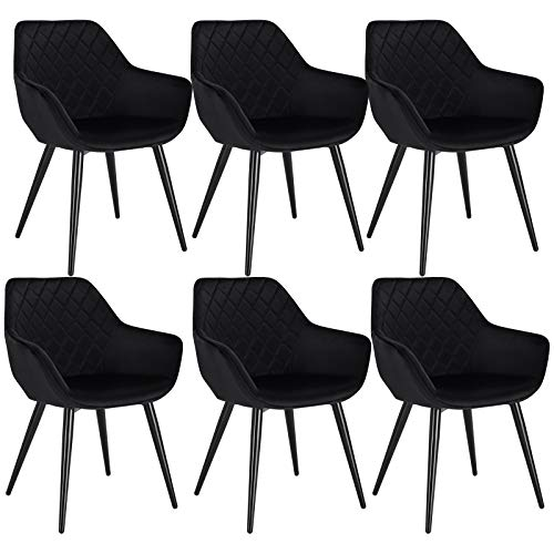 WOLTU Esszimmerstühle BH153sz-6 6er Set Küchenstühle Wohnzimmerstuhl Polsterstuhl Design Stuhl mit Armlehne Schwarz Gestell aus Stahl Samt
