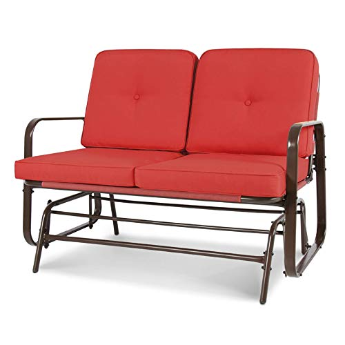 Porch Swing and Glider, UV-Resistant Red 2 Seater Ergo Patio Glider Loveseat Rocking Chair Bench