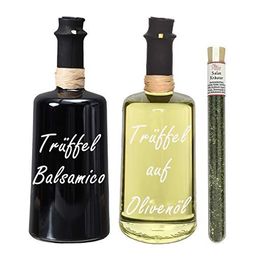 Wajos Trüffel Crema Balsamico & Wajos Weißer Trüffel auf Olivenöl 2x250 ml I Sparset mit Oliv & Co. Salatkräutergewürz