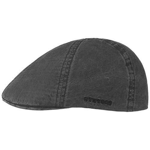 Stetson Texas Organic Cotton Flatcap Herren - Nachhaltige Schiebermütze mit Bio-Baumwolle - Flat Cap mit UV-Schutz (40+) - Herrencap Frühjahr/Sommer - Schirmmütze schwarz L (58-59 cm)
