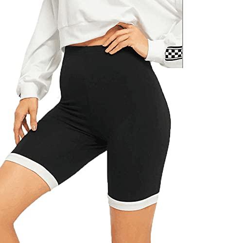 BUXIANGGAN Shorts Pantalones Cortos Mujer Pantalones Deportivos De Encaje para Mujer con Costura Lateral Ajustada, Pantalones Cortos Deportivos De Ciclismo para Yoga-Negro_S
