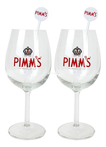 Pimms Cup Gläser - 2X Cocktailglas + 2X Stirrer/Longdrinkglas/Glas/Gläser / 2er Set Glas + Stirrer / 5cl Eichung/Eichstrich