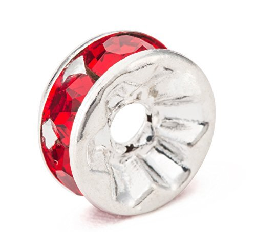 Rabusion New for MBOX Silver Plated Rhinestone Crystal Rondelle Spacer Beads 8mm Various Color (Red)