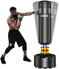 👊 【ADULT FREE STANDING KICKBOXING BAG】Works on any even floors in home and office. Stands approx 69''/175cm tall. Great adult or teens (47-73in tall) gift as stress buster and strength builder 👊 【UPGRADED SHOCK ABSORBING SYSTEM】Dual TPU absorbers + s...