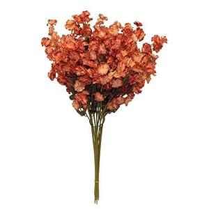Lumos80 12 Baby's Breath Many Colors Gypsophila Wedding Centerpieces Silk Flowers (Burnt Orange)