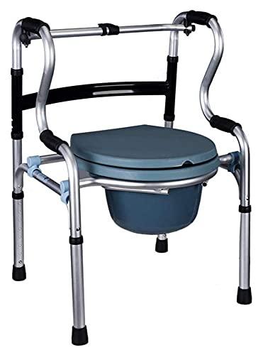 TabloKanvas Asiento para el Inodoro para el Anciano Plegable de Aluminio para la Silla para el Inodoro deshabilitado de Las Mujeres Embarazadas con Rueda (Color : A, Size : 52x57x75-93cm)