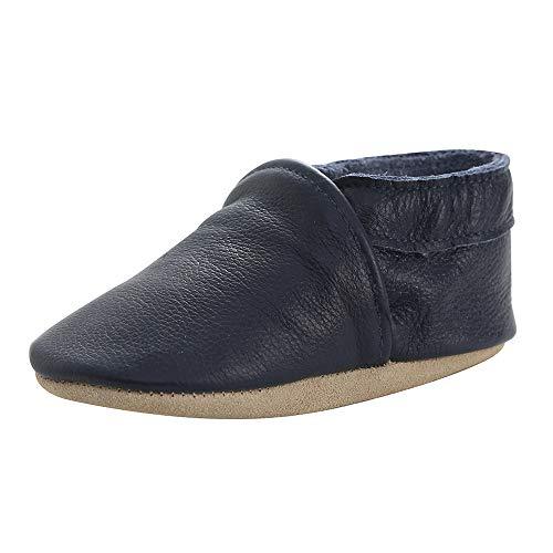Lindos Cuero Suave Zapatos de Bebe Zapatillas Pantuflas Infantiles Patucos 0-3 Años (Azul Marino, 20)